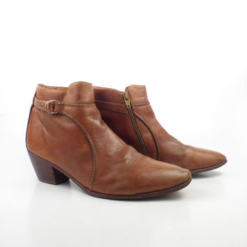 Leather Ankle Boots 1970s Brown Euro Beatle Zip men's size 9 1/2 D