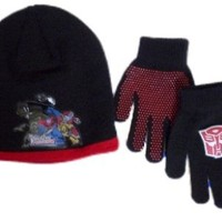 Transformers Boys Black Knit Hat & Gloves beanie set