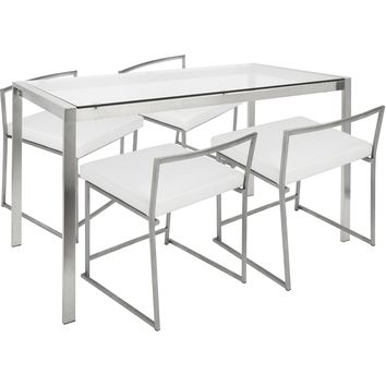 Fuji 5pc Contemporary Dining Set, ,Brushed Stainless Steel & White