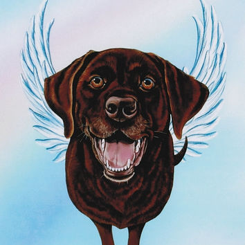 Chocolate Labrador Retriever Angel - Chocolate Lab Art - Dog Angels - Guardian Angels - Pet Memorial - Rainbow Bridge - Weeze Mace - 8x10
