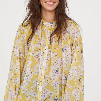 Patterned Lyocell Blouse - Light yellow/floral - Ladies | H&M US