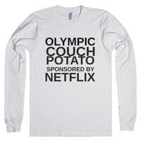 Couch Potato Long Sleeve-Unisex White T-Shirt