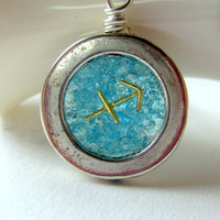 Sagittarius Necklace, Zodiac Necklace, Astrological Jewelry, December Birthstone, Blue Topaz, Sagittarius Sign
