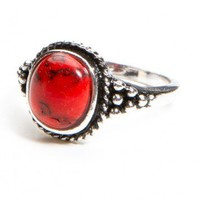 Brandy ♥ Melville |  Silver Ring with Red Gem - Just In