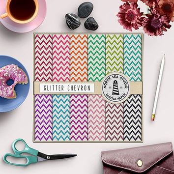 Glitter Chevron Digital Paper Rainbow Sparkle Zig Zag Pattern Shiny Chevron Pink Blue Aqua Mint Sparkles 12x12 Inches Sparkly Background