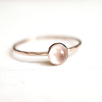 Rose Quartz Ring, Dainty Gold Ring, Stacking Ring, 14k Gold Ring, Rose Cut, Rose Gold Ring, Pastel Pink, Engagement Ring, gift for her
