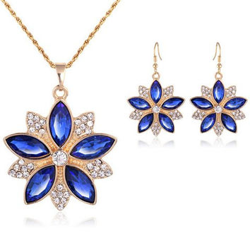 Vintage Flower Faux Sapphire Necklace and Earrings