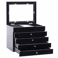 Luxury Large White Wooden Jewelry Boxes Black Jewellery High Gloss Organizer Glass Top Cabinet Storage Case Necklace Earrings 14