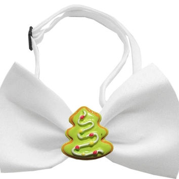 Christmas Tree Chipper White Pet Bow Tie
