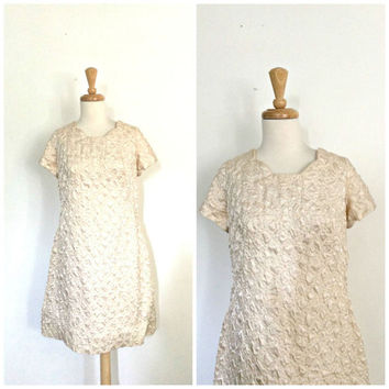 Vintage 1960s Dress - champagne  - sating party dress - short sleeve - aline - Large - XL