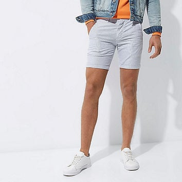Blue stripe slim fit rolled up shorts - casual shorts - shorts - men