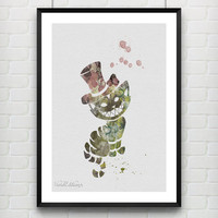 Cheshire Cat, Alice's Adventures in Wonderland, Disney Watercolor Art Poster Print, Kids Room Decor, Not Framed, Buy 2 Get 1 Free! [No. 01]