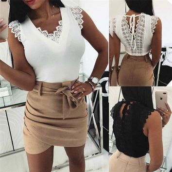 2019 New Summer Sexy V Neck Women's Blouse Ruffles Sleeveless Lace Solid Blouses Slim Top Sweet Blusa Feminina White Black