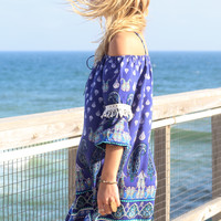 Surf Spray Navy Blue Off The Shoulder Print Dress