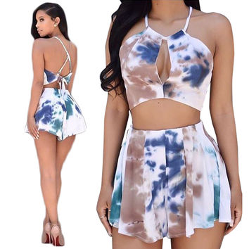 Dye Printed Halter Neck Cross Back Crop Top With Short