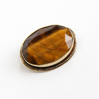 Vintage 12k Yellow Gold Filled Tiger's Eye Pin - Retro Oval Brown Facted Gem Brooch Hallmarked Danecraft Jewelry