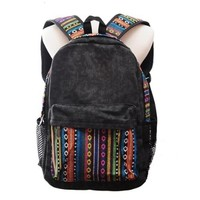 POMELO Vintage Tribe Pattern Colorful Wool Knitting Canvas Backpack (Black)