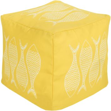 Fish Outdoor Pouf ~ Bright Yellow