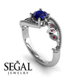 Unique Engagement Ring 14K White Gold Leafs And Branches Victorian Ring Filigree Ring Sapphire With Ruby - Audrey