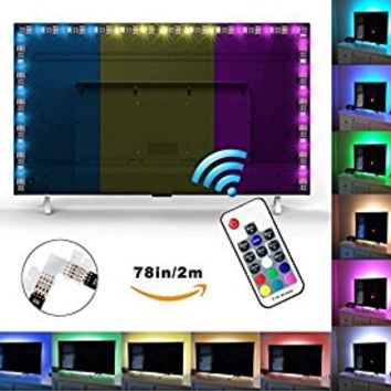 "Bias Backlight for HDTV Exgreem (78.7""/ 2M) LED Strips Bias Lighting RGB Lights with RF Remote Control for HDTV, Flat Screen TV Accessories and Desktop PC, Multi Color (78 inches)"