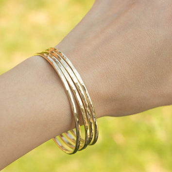 Gold Hammered Stacking Bangles