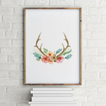 Deer floral Instant download Home decor Room poster Printable poster Deer poster Floral poster Horns poster Floral Horns Typograph art