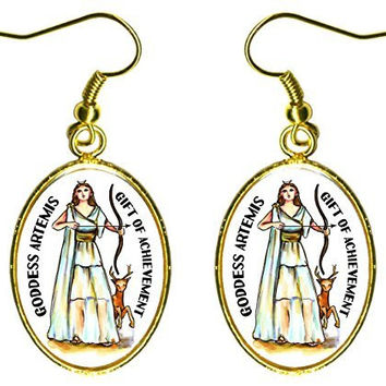 "Goddess Artemis Gift of Achievement 1"" Gold Earrings"