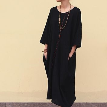 ASYMSAY Casual Black Cotton Linen Dress Summer New Arrival 3/4 Sleeve Embroidered Dress Oversized Big Size Women Clothing AC3335