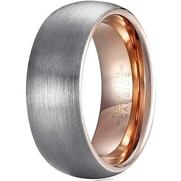 8mm Tungsten Carbide Ring Rose Gold Plated Fashion Wedding Engagement Promise Band Silver Dull Polish (Platinum 14k, 18k Rose Gold)