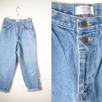 Vintage Boyfriend Jeans / High Waisted Jeans 80s Jeans Skinny Jeans Calvin Klein Jeans Mom Jeans Faded Distressed Light Wash Relaxed Fit