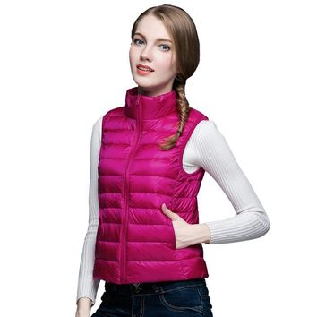 90% White Duck Down Vest Women 2016 Ultra Light Jacket Vest Packable Women Down Vest Brand Women Winter Down Jacket Vest