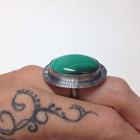 Giant Green Malachite Sterling Sun Stamped OOAK Adjustable Ring