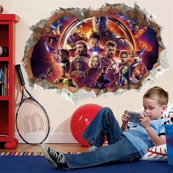 3D Effect The Avengers Broken Wall Stickers For Kids Rooms Nursery Home Decor Pvc Wall Decals Super Heroes Posters Mural Art