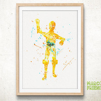 C-3PO Robot, Star Wars - Watercolor, Art Print, Home Wall decor, Watercolor Print, Star Wars Poster