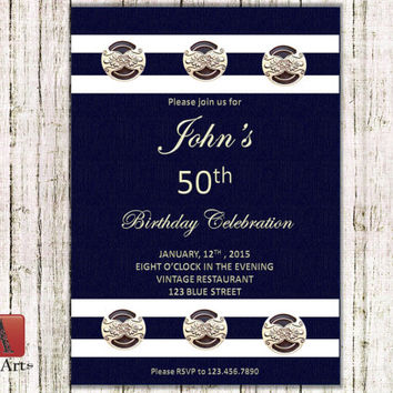 Instant Download 50th Birthday Invitation, Retirement, Anniversary, Navy army party, DIY, i00000046s_ADU, ADU