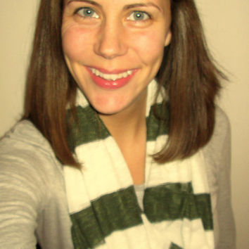 Green & White, Knit, Striped, Homemade, Infinity Scarf.
