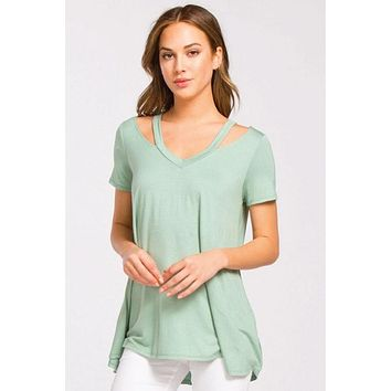 V-Neck Strappy Top - Sage