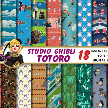 Totoro Ghibli digital paper, Kiki, Howl, Princess Mononoke, Ponyo, Laputa, Spirited Away, Scrapbooking paper, backgrounds, pixel patterns