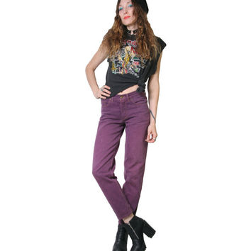 Vintage 90s Purple Guess Jeans - Midrise - Mom Jeans - High Waisted Jeans - Size 27 - Grunge Goth 90s - Colored Denim - Pastel Goth - Womens