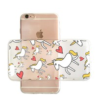 Cute Unicorn Pattern Transparent Clear Rubber Jelly Plastic Phone Case for Iphone_ SUPERTRAMPshop (VAS1460, iphone 7/8 PLUS)