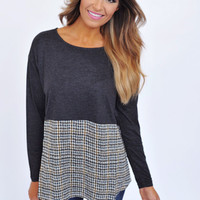Houndstooth Bottom Long Sleeve - Charcoal