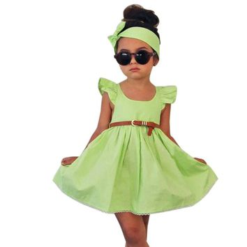 Toddler Girls Dresses Kids Clothes Baby Girl Party Dress Outfit Bowknot Princess Dresses+Belt+Headband