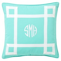 Ribbon Trim Monogram Pillow Cover, Pool