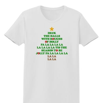 Deck the Halls Lyrics Christmas Tree Womens T-Shirt