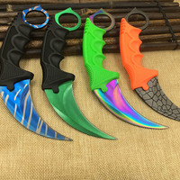 CS GO Counter Strike claw Karambit Knife sharpen Neck Knife with Sheath Tiger Tooth Real game Knife camping