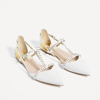 STUDDED WHITE D'ORSAY SHOES DETAILS