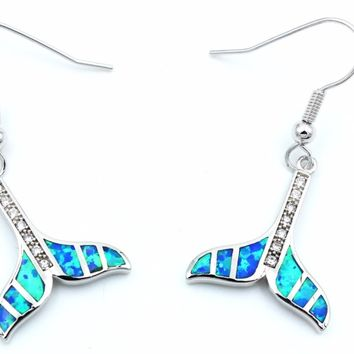 Blue Whale Tail Fire Opal Earrings 925