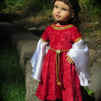 American Girl Medieval Princess Renaissance Dress - Red and Gold