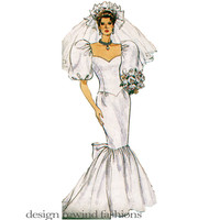 80s MERMAID WEDDING DRESS Pattern Fit & Flare Bridal Ball Gown Puff Sleeves Bust 30.5 31.5 32.5 Butterick 3511 UNCuT Vintage Sewing Patterns