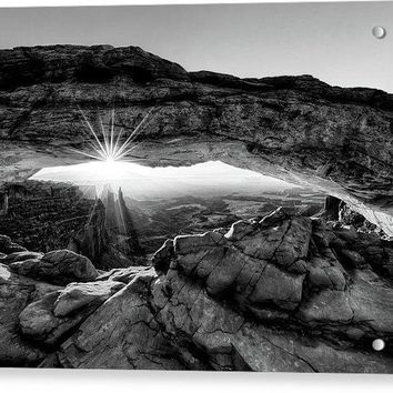Supernatural West - Mesa Arch Sunburst In Black And White - Acrylic Print